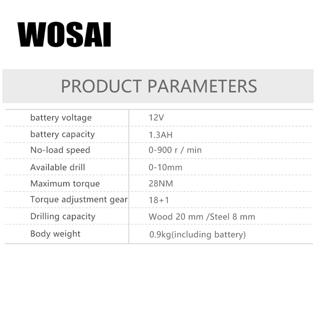 WOSAI  12V DC Household Lithium-Ion Battery Cordless Drill Driver Power Tools Electric Drill Durable and Affordable 2