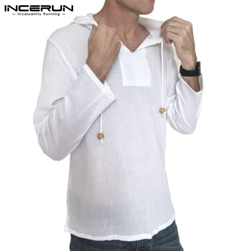 INCERUN 2019 Autumn Men Shirt Hooded Long Sleeve 100%Cotton Solid Casual Shirts Men Loose Streetwear Tops Camisa Masculina S-3XL