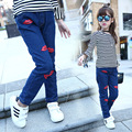 kids girls jeans 2016 autumn spring denim blue lips pattern casual pants baby girl fashion trousers children clothes hot sale