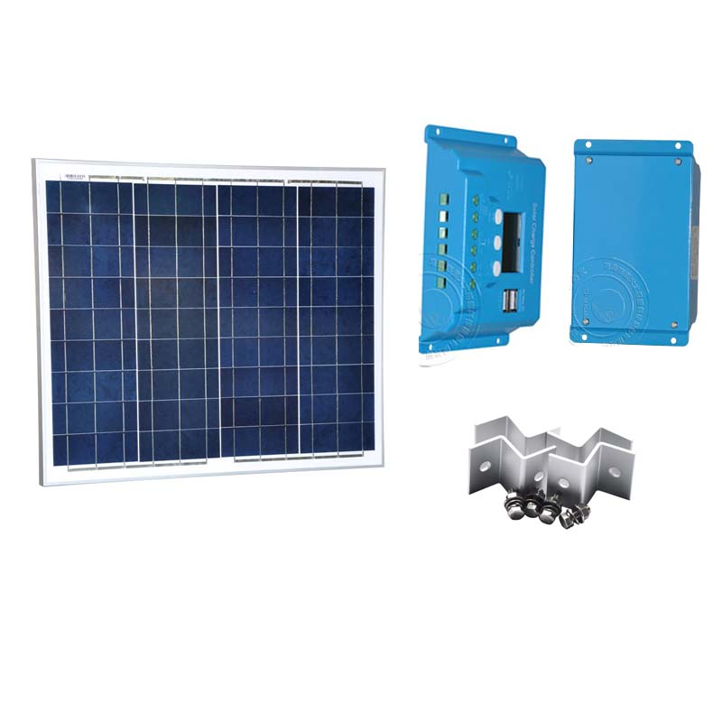 Kit 50w 12v Solar Panel Battery Charger Solar Controller 12v/24v 10A LCD Dual USB Chargeur Solaire Camping Caravan Car LED Light цена и фото