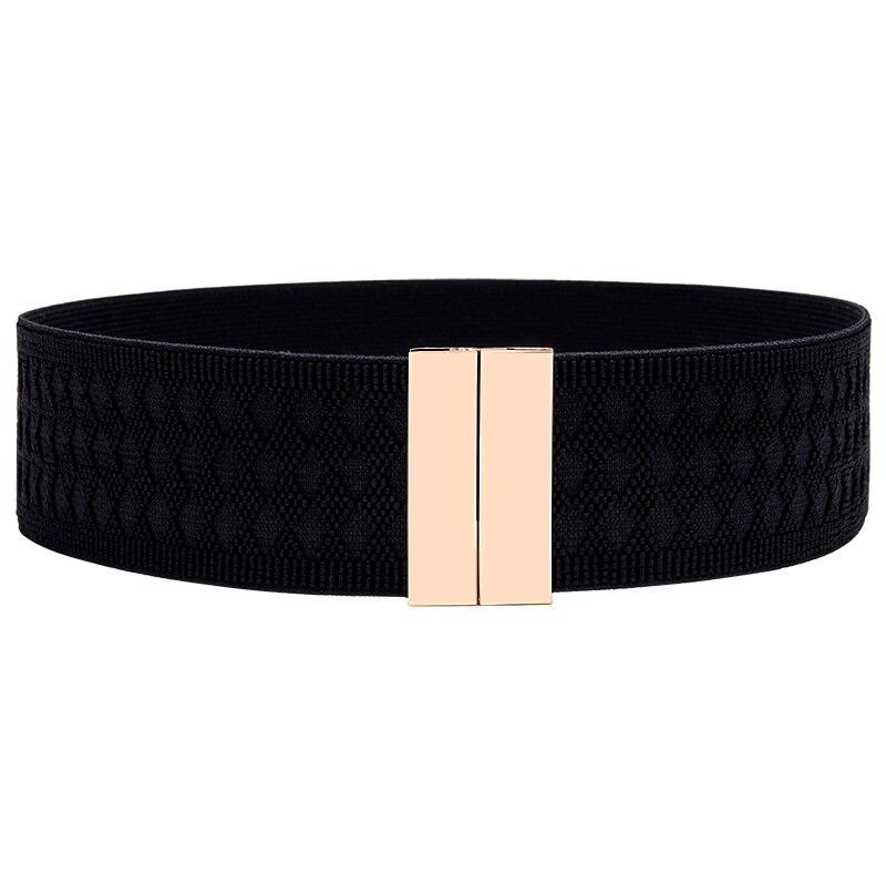Fashion Elastic Wide Belt For Women Stretch Waistbands For Dress Lady Black Cummerbunds Party Adornment For Femme