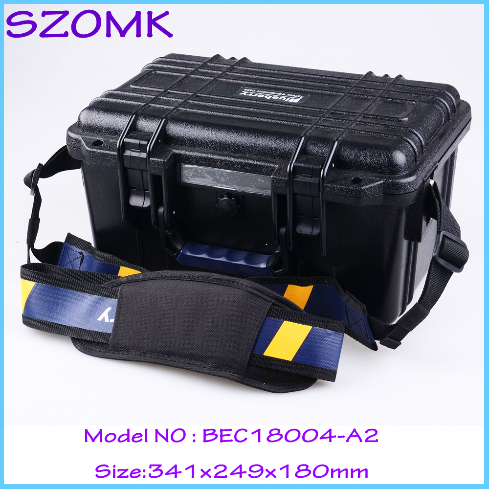 SZOMK Plastic shockproof waterproof  tool case plastic sealed waterproof safety equipment case (1pcs) 341*249*180mm portable box tool case gun suitcase box long toolkit equipment box shockproof equipment protection carrying case waterproof with pre cut foam