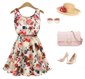 235cef12a7 high waist cute Floral print chiffon vest women dress 2015 summer style  kawaii party dresses girl casual gown american apparel-in Dresses from  Women s ...