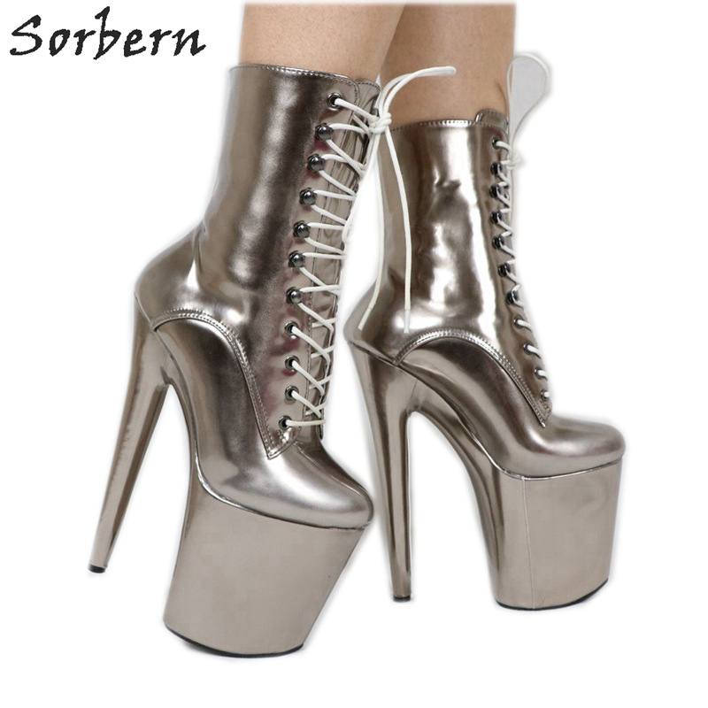 47f4192f6cc68 Sorbern Grey Metallic Women Pole Dance 20cm 8 inch Extreme Heels Devious  Shoes Exotic Dancer Heels Boot Females Custom Color