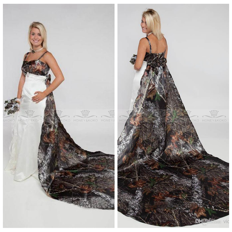 US $132.6 22% OFF|2019 Plus Size Spaghetti A Line Camo Wedding Dresses With  Detachable Train Flowers Adorned Back Bridal Gowns Camouflage-in Wedding ...