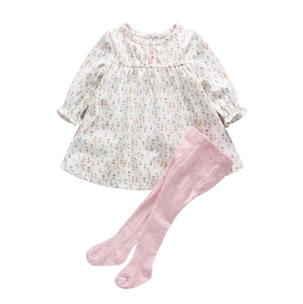 Baby Girl Clothing Sets Newborn Baby Cotton Floral Dress + Leggings+Bow Hairband 3pcs Clothing Set Baby First Birthday Outfits new baby girl clothing sets infant easter romper tutu dress 2pcs set black girls rompers first birthday costumes festival sets