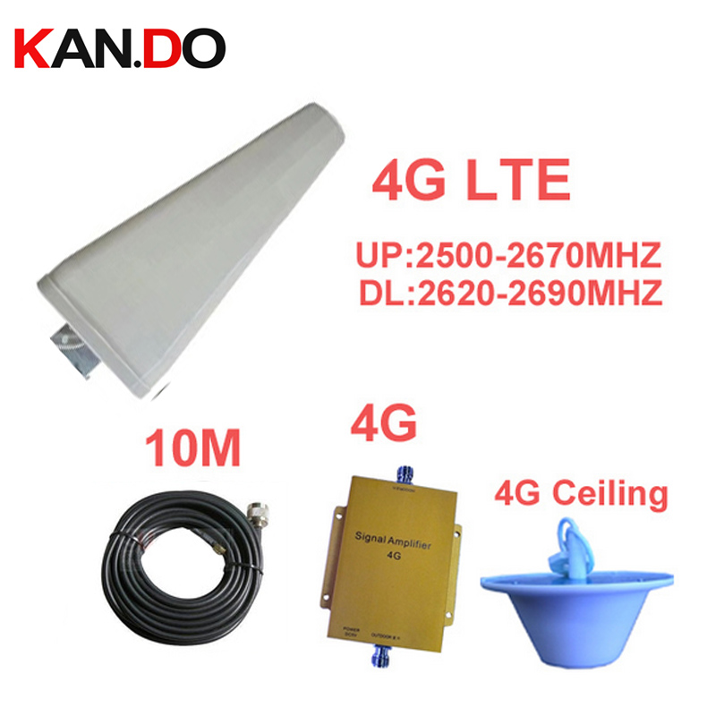 Band 7 FDD 4G Booster LTE 4G Repeater Amplifier W/ 10M Cable & Antenna LTE Booster 4G Phone Booster 2500-2570mhz 2620-2690mhz