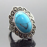 17X30mm Blue Turquoises Oval Gem 925 Sterling Silver Marcasite Ring Size 7 8 9 10