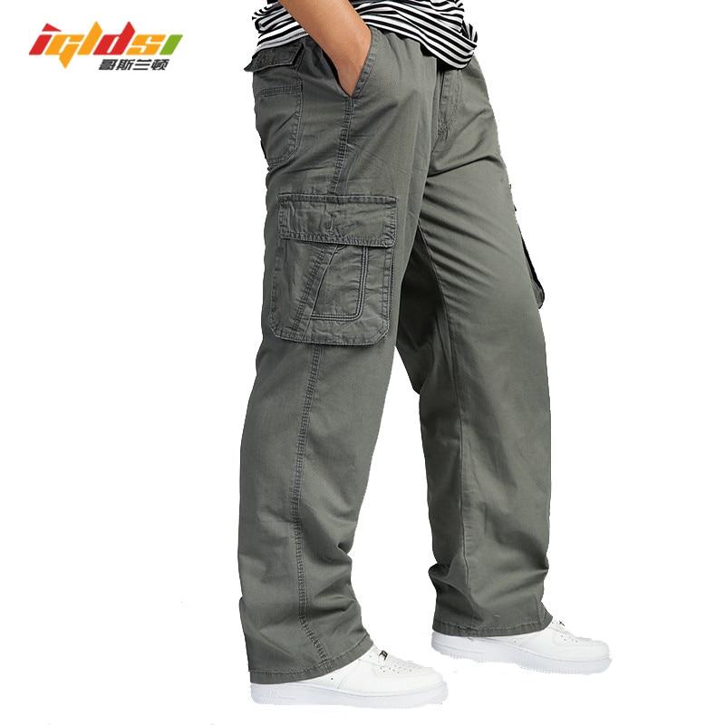 Men Overall Elastic Waist Multi Pocket Male Long Baggy Straight Trousers Cargo Jogger Men's Casual Pants Plus Size Big 5xl 6xl