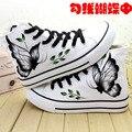 Краткое ручная роспись обувь холст обувь высокие Женщины повседневная ручная роспись обувь бабочки
