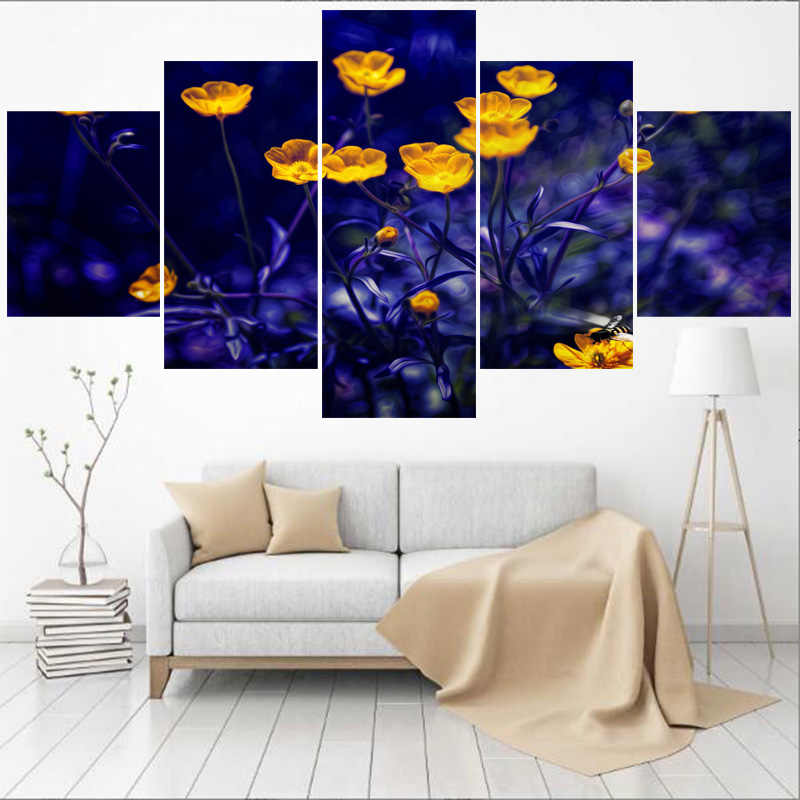 5 Pieces Purple Gold Flower Paintings For Bedroom Wall Art Home Decor Picture Canvas Painting Calligraphy For Living Room Painting Calligraphy Aliexpress