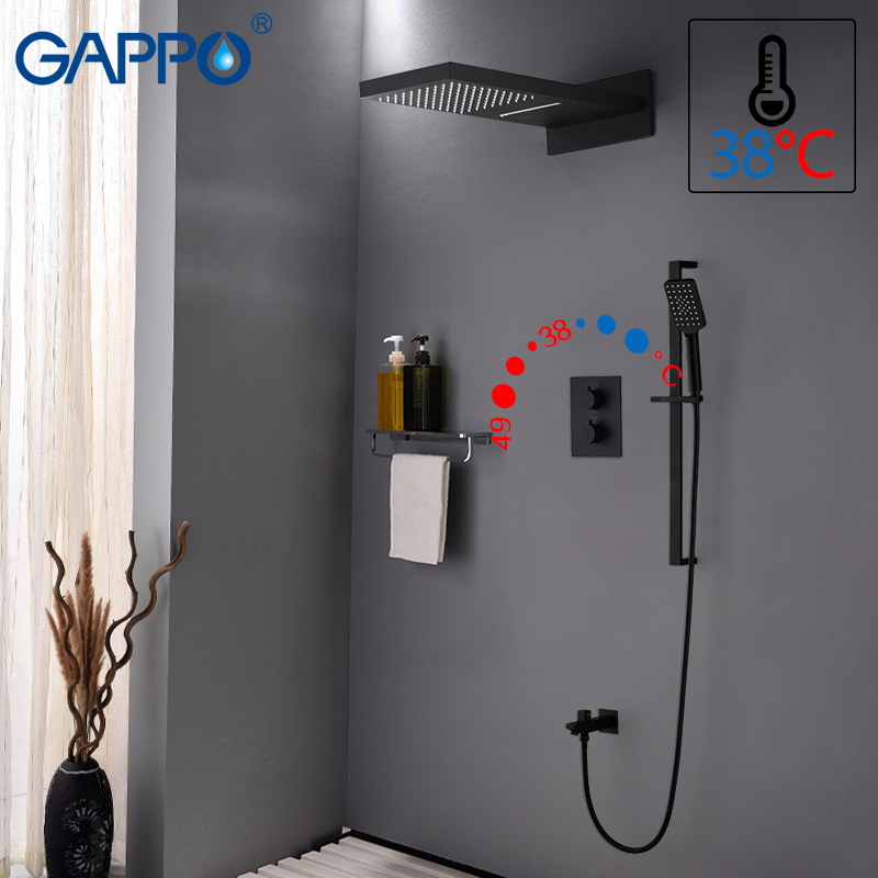 GAPPO shower faucet bathroom faucet mixer ABS waterfall bath tap mixer bath shower head wall mounted shower faucet set gappo bathtub faucet wall mounted bath shower faucet set bathroom shower tap waterfall stainless shower head shower wall mixer