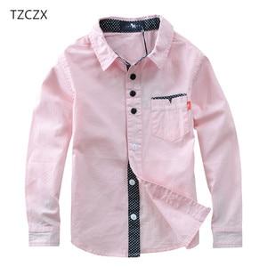 Image 2 - TZCZX sıcak satış çocuk gömlek avrupa ve amerikan tarzı pamuk 100% katı çocuklar gömlek giyim için 4 12 yıl giyim