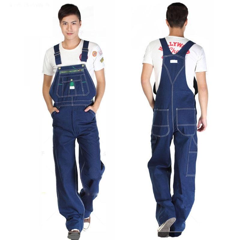Hot 2018 Men's Large Size Overalls Large Size Denim Bib Pants Fashion Pocket Jumpsuit Men's Free Shipping Huge Pants 66
