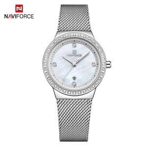 Image 2 - NAVIFORCE جديد إمرأة فاخر ماركة ساعة كوارتز سيدة موضة ساعات الفولاذ مقاوم للماء السيدات ساعة اليد Relogio Feminino