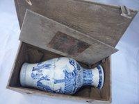 Коллекция Династии Цин синий и белый фарфор ваза (Пекин Дворец Музей коллекция коробка), Бесплатная доставка