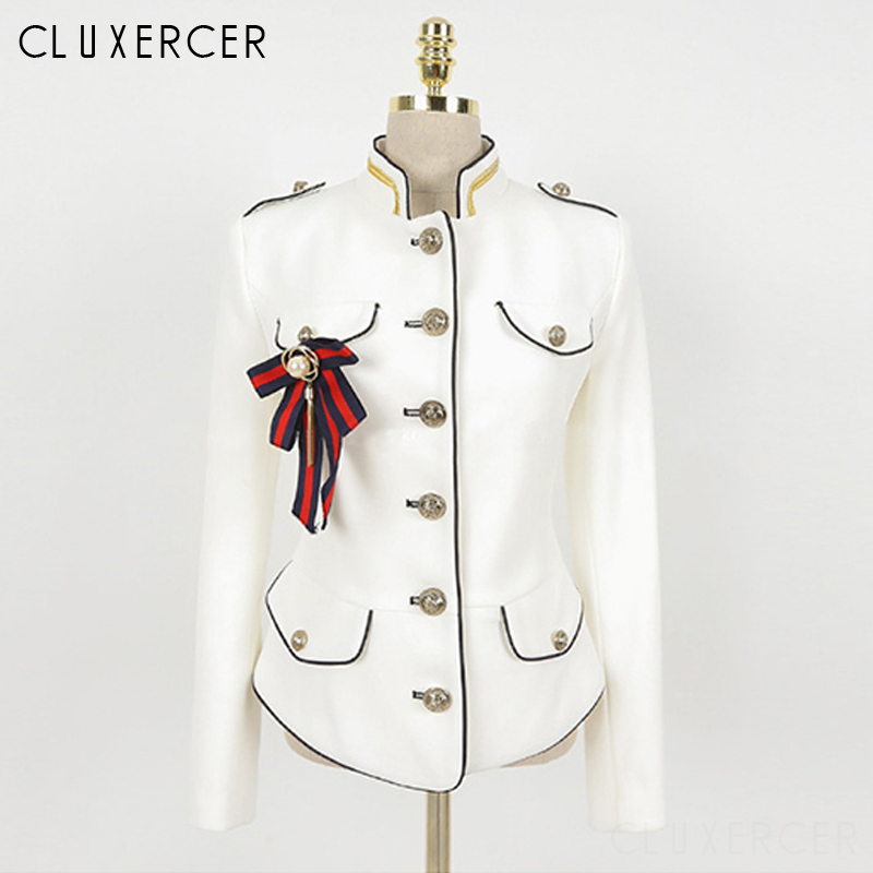 2019 New Navy Style   Basic     Jacket   Women Vintage Long Sleeve Stand Collar White   Jacket   Female Bolero With Pearl Brooch