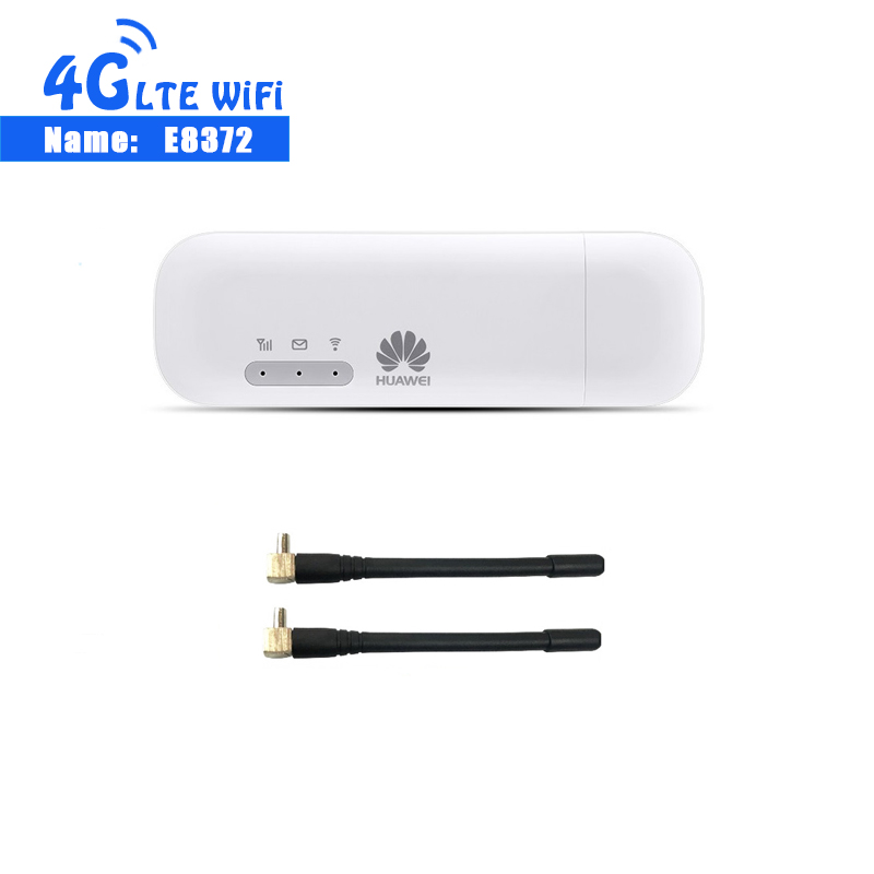 Unlocked New Huawei E8372 150Mbps Modem E8372-153 Huawei 4G Wifi router 4G LTE Wifi Modem LTE +2PCS ANTENNA(China)