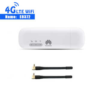 Unlocked New Huawei E8372 150Mbps Modem E8372-153 Huawei 4G Wifi router 4G LTE Wifi Modem LTE +2PCS ANTENNA - Category 🛒 Computer & Office