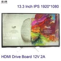 E & M 13,3 дюймов 1920*1080 ips Экран автомобиля Raspberry Pi 3 Xbox ЖК дисплей модуль MP4 монитор HDMI диск доска комплект DIY 1080 P светодио дный Displayer