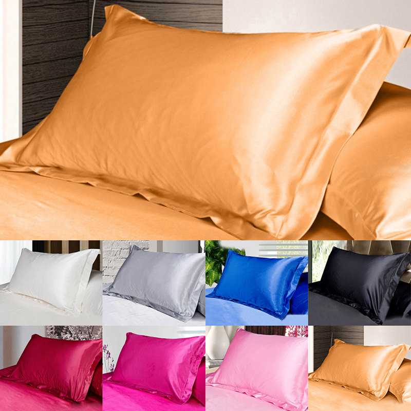 50*70cm Solid Color Silk Satin Pillow Case Multi Color Emulation Silk Cushion Cover Queen Standard Single Pillowcases Home Decor