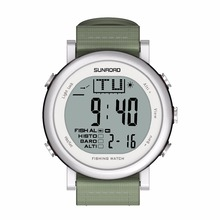 SUNROAD FR721A Fishing Sports Watch Men- Digital Stopwatch/Altimeter/Barometer/Thermometer with Nylon Strap Men Clock (White)