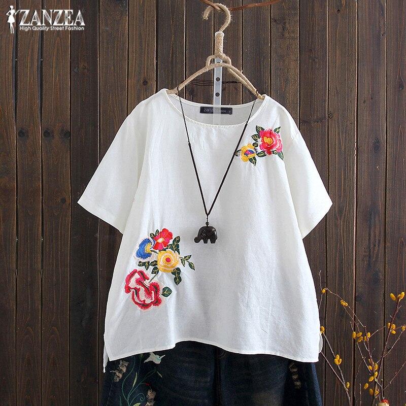ZANZEA 2019 Summer Embroidery Tops Women's Blouse Vintage Short Sleeve Basic Tee Shirts Female Floral Blusas Plus Size Tunic