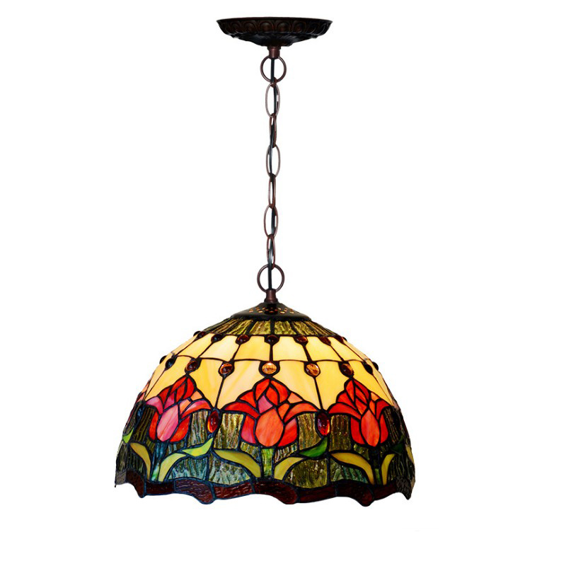 Japanese Style Stained Glass Rattan Red Flower LED Hang Pendant Lamp Light Shade With Chain Stair Table Balcony Kitchen Lighting