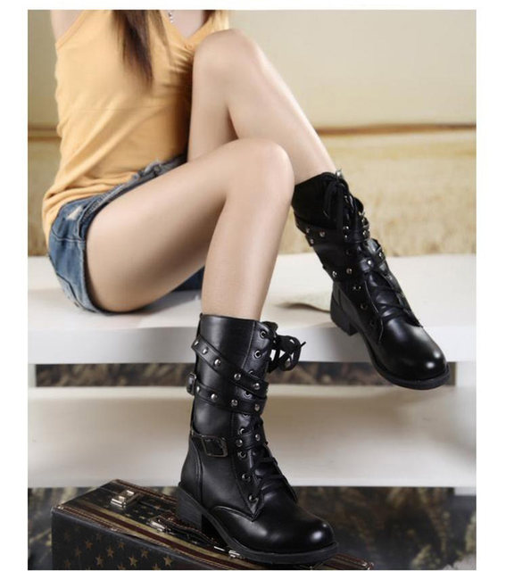 2019 New Buckle Winter Motorcycle Boots Women British Style Ankle Boots Gothic Punk Low Heel ankle Boot Women Shoe Plus Size 43 27