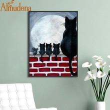 Черная кошка Мышь стены в искусстве милые Nordic животных холст для живописи Детская комната украшения оформлена мультфильм Северный плакат