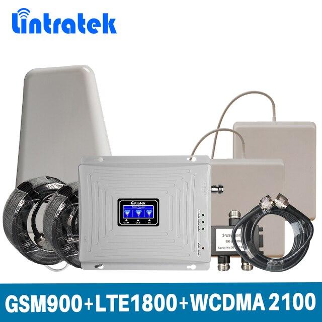 Lintratek תלת להקת 2G 3G 4G עבור GSM 900 + LTE 1800 + WCDMA 2100 MHz נייד אות Booster מגבר סט עם 2 מקורה אנטנה @ 5.4