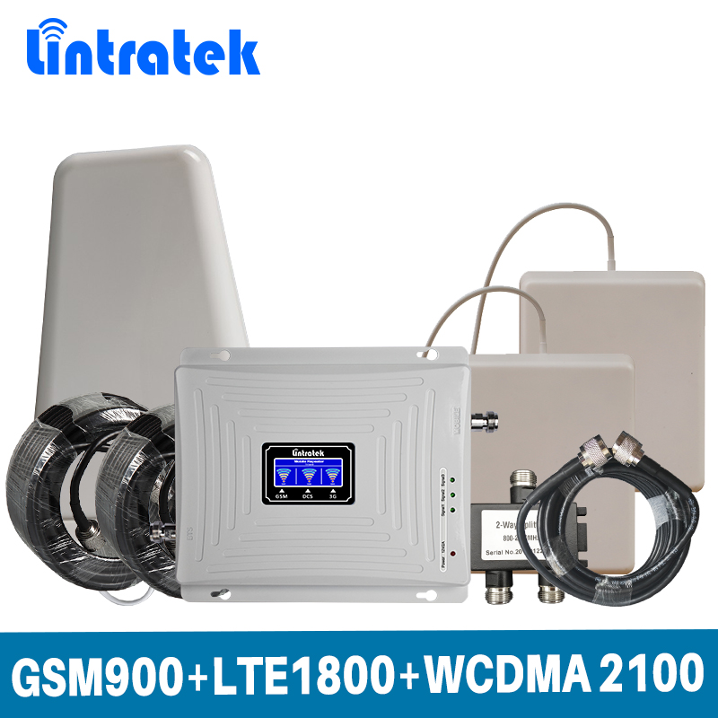 Lintratek Tri Band 2G 3G 4G For GSM 900+LTE 1800+WCDMA 2100MHz Mobile Signal Booster Amplifier Set With 2 Indoor Antenna @5.4