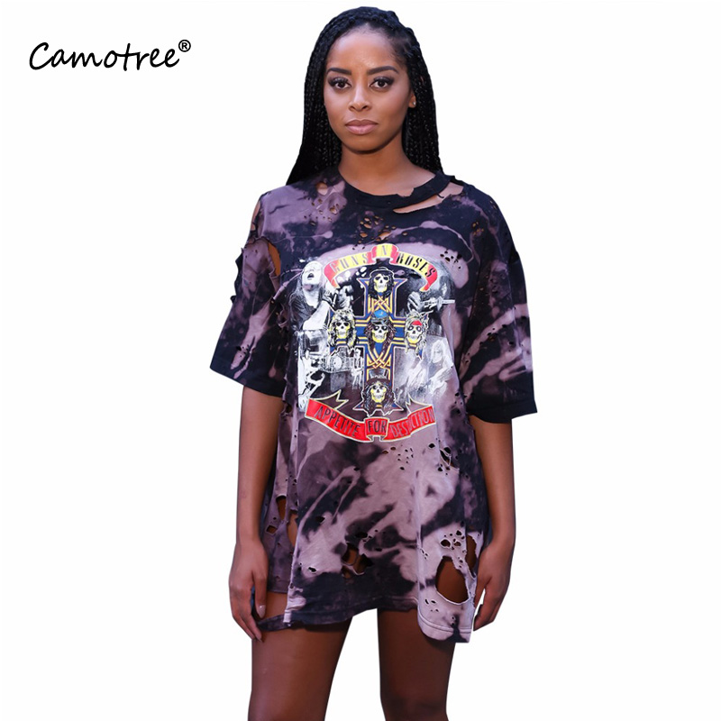 dc89c0c034f9 2017 Women Unique 3D Print Tee Style Dress Long Sleeve Distressed Dress  Holes Casual Loose Vestidos Autumn Lady Dresses S M L XL-in Dresses from  Women's ...