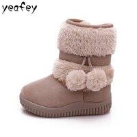 Fashion Girls Snow Boots With Fur Winter Warm Flock Bottine Children Baby Felt Boots Waterproof Kids