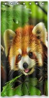 36 x 72 Inch red panda Theme Polyester Bath Shower Curtain SRings Included