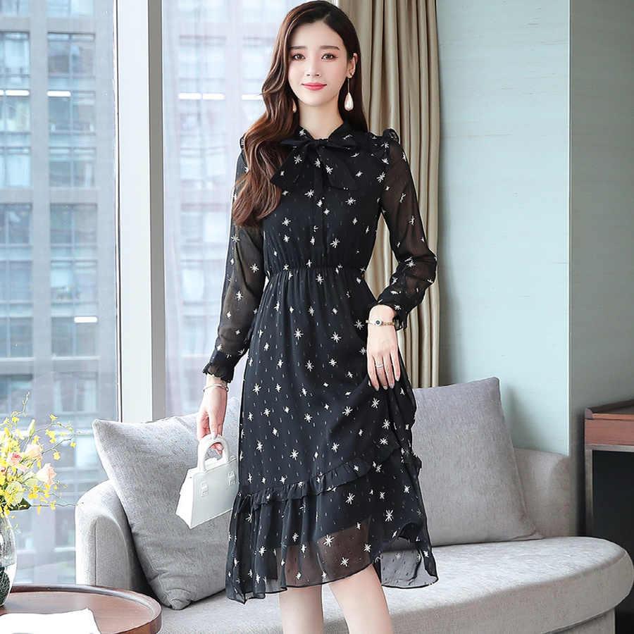 2019 винтажные шикарные черные шифоновые миди платья осень зима принт пляжный костюм с длинным рукавом платье элегантные женские облегающие вечерние платья