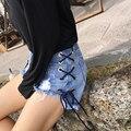 Verão Shorts Jeans Calça Jeans Feminina Primavera 2017 das Mulheres Do Vintage Buraco Desgastado Calções Pantalon Femme Feminino Super Cool Praia Drawstr