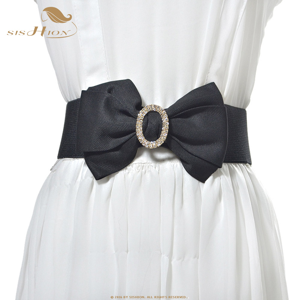 SISHION Vintage Wide Elastic Belt Dress Accessories SP0241 Women's White Red Black Wide Waist Rhinestone Belt Large Bow