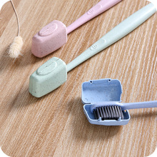 FOURETAW Creative Wheat Straw Colour Outdoor Business Travel Portable Toothbrush Head Case Protector Box