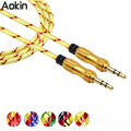 Aokin New Aluminum Alloy Gold Plated Plug 3.5mm Aux Cable Male to Male Audio Cable for Car for Phone MP3 / MP4 Headphone Speake