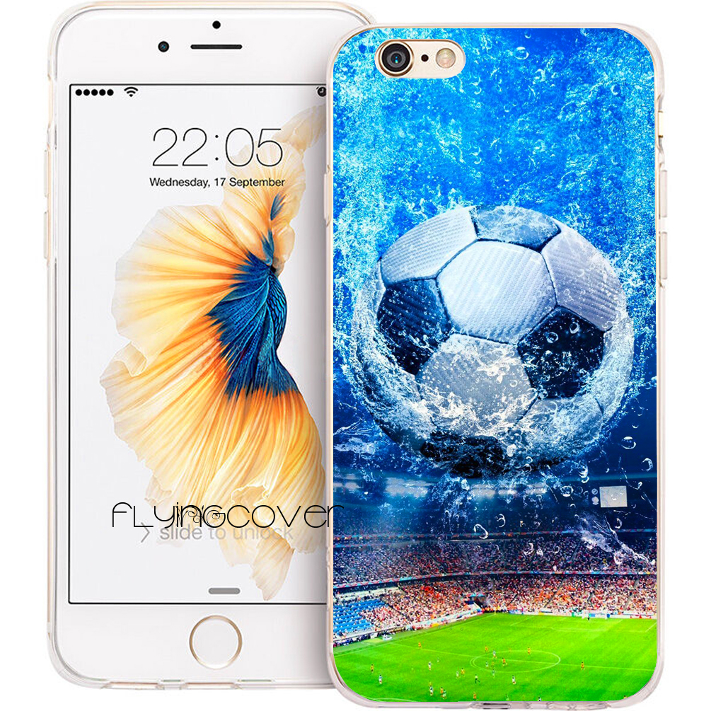 Coque Football Soccer Ball Clear Soft TPU Silicone Phone Cover for iPhone X 7 8 Plus 5S 5 SE 6 6S Plus 4S 4 iPod Touch 6 5 Case