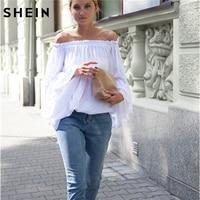SHEIN Blusas Das Mulheres para a Primavera Verão Senhoras 2016 Hot New Barco branco Pescoço Longo Alargamento Manga Rendas de Alta Baixo Solto blusa