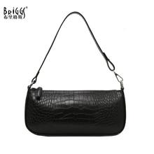 BRIGGS Vintage Crocodile pattern Women Handbag Quality Leather Female Shoulder Bag Small Casual Flap Elegant Ladies Sac