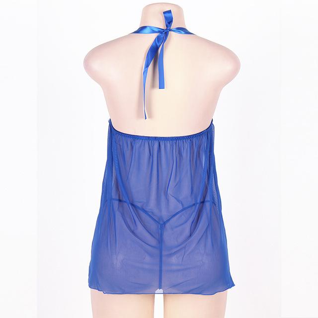 Large Size 5XL Women Nightdress Night Sexy Sleepwear Dress with Thong