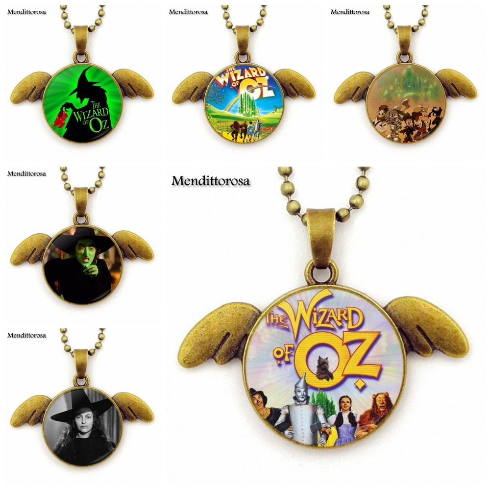 Mendittorosa For ValentineS Day Gift Wizard Of Oz Necklace With Bronze Plated Angel Wings Pendant Necklace