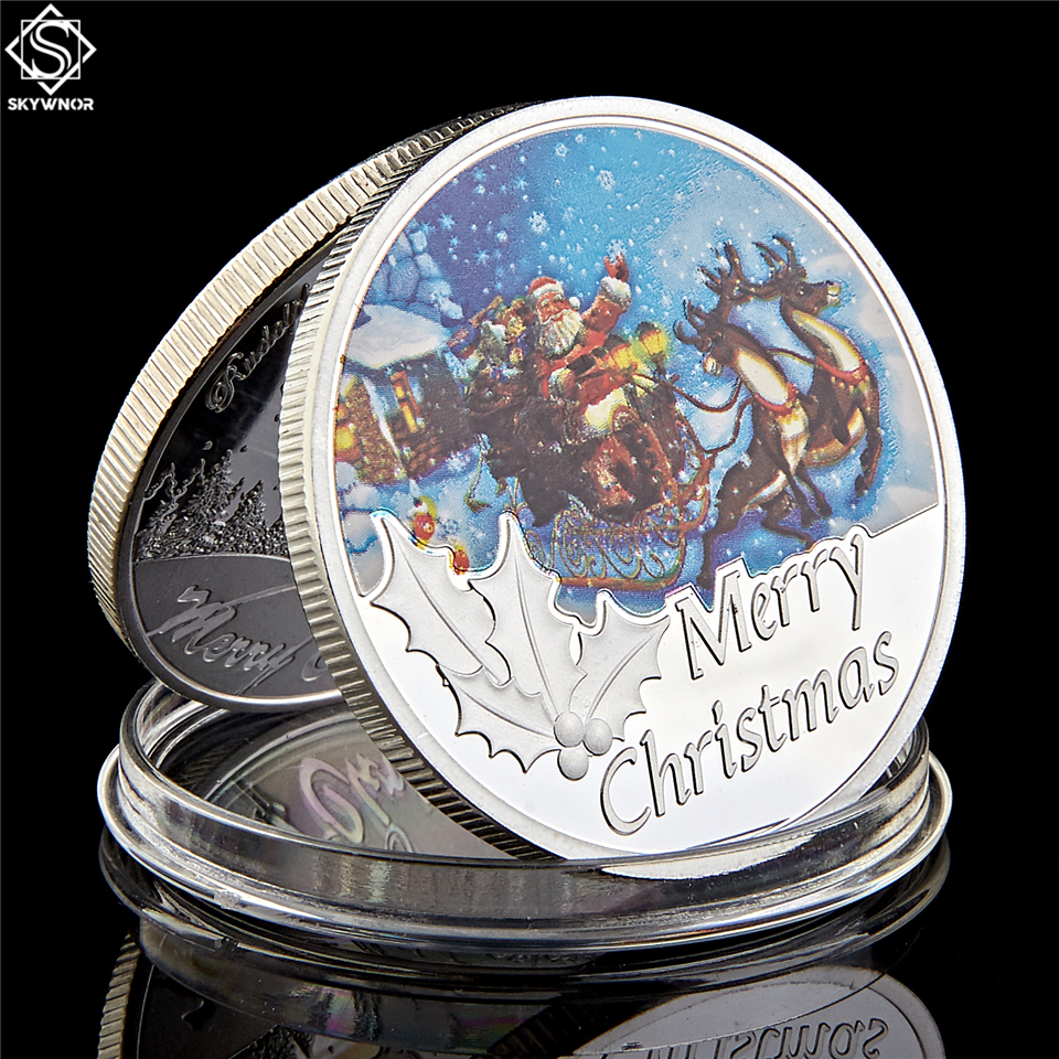 Санта Клаус 1 унция серебро 999 пробы с рождественскими мотивами