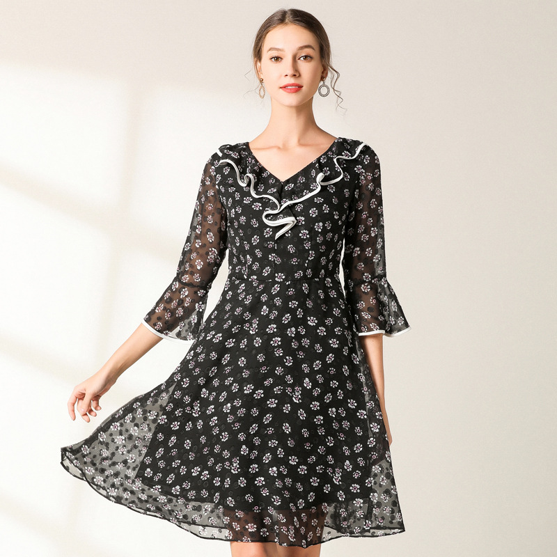 f966f9a36d45 New2019-primavera-verano-Mujer-Plus-tama-o-floral-elegante-vestido -de-gasa-de-cuello-en-V.jpg
