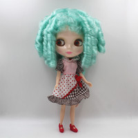 Blyth Doll Light Green Bangs Curly Hair Nude Dolls Normal Body 1 6 7 Joints Gift