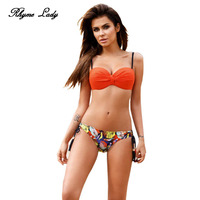 Rhyme Lady New Bikini Set Women Swimsuit Push Up Swimwear Cross Bandage Halter Low Waist Beach