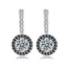 Винтажные серебряные серьги-кольца из натуральной 925 пробы для помолвки для женщин, черные и белые каменные украшения Bijoux T001